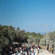 Refugees at the entrance of Kara Tepe camp.