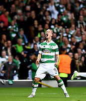 19/08/15 UEFA CHAMPIONS LEAGUE PLAY-OFF 1ST LEG<br /> CELTIC V MALMO<br /> CELTIC PARK - GLASGOW<br /> Leigh Griffiths celebrates his early opener for Celtic.