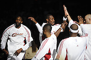 Ben Wallace, center, of Cleveland is introduced during pregame ceremonies before a game against visiting Memphis.