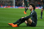 Leroy Sane of Manchester City looks on. Premier league match, Stoke City v Manchester City at the Bet365 Stadium in Stoke on Trent, Staffs on Monday 12th March 2018.<br /> pic by Andrew Orchard, Andrew Orchard sports photography.