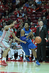 26 February 2014:  Devonte Brown works against Tony Wills during an NCAA Missouri Valley Conference (MVC) mens basketball game between the Indiana State Sycamores and the Illinois State Redbirds  in Redbird Arena, Normal IL.