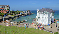 GV, general view, Arcadia, bathing area, Portrush, Co Antrim, N Ireland, UK, 201406213167<br /> <br /> Copyright Image from Victor Patterson, 54 Dorchester Park, Belfast, UK, BT9 6RJ<br /> <br /> t1: +44 28 9066 1296 (from Rep of Ireland 048 9066 1296)<br /> t2: +44 28 9002 2446 (from Rep of Ireland 048 9002 2446)<br /> m: +44 7802 353836<br /> <br /> victorpattersonbelfast@gmail.com<br /> www.victorpatterson.com<br /> <br /> Please see my Terms and Conditions of Use at http://www.c1382010.myzen.co.uk/pdf/Terms%20&%20Conditions.pdf  It is IMPORTANT that you familiarise yourself with them.<br /> <br /> Images used on the Internet incur an additional cost and must be visibly watermarked i.e. ©Victor Patterson within the body of the image and copyright metadata must not be deleted. Images used on the Internet have a size restriction of 4kbs and are chargeable at rates available at victorpattersonbelfast@gmail.com.<br /> <br /> This image is only available for the use of the download recipient i.e. television station, newspaper, magazine, book publisher, etc, and must not be passed on to any third party. It is also downloaded on condition that each and every usage is notified within 7 days to victorpattersonbelfast@gmail.com.<br /> <br /> The right of Victor Patterson to be identified as the author is asserted in accordance with The Copyright Designs And Patents Act (1988). All moral rights are asserted.