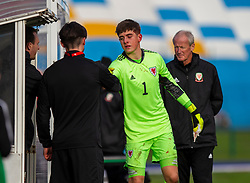 CARDIFF, WALES - Saturday, November 16, 2019: Wales' goalkeeper Lewis Webb is substituted after 40 minutes during the UEFA Under-19 Championship Qualifying Group 5 match between Russia and Wales at the Cardiff International Sports Stadium. (Pic by Mark Hawkins/Propaganda)