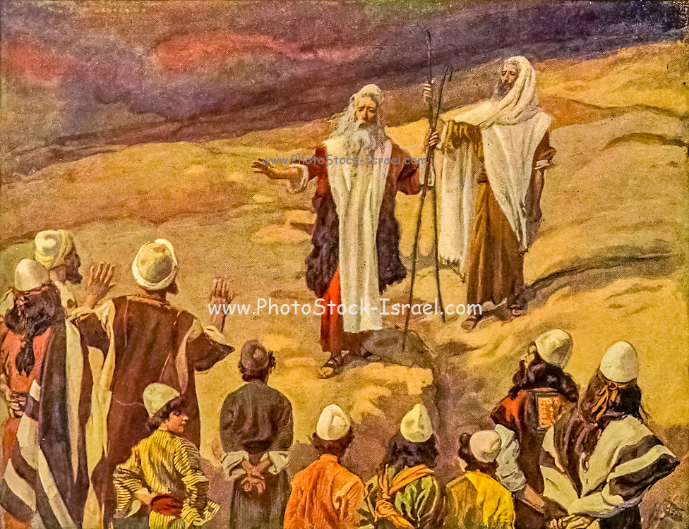 """MOSES FORBIDS THE PEOPLE TO FOLLOW HIM. Ex. xxiv. 14.<br /> """"And he said unto the elders, Tarry ye here for us, until we come again unto you: and, behold, Aaron and Hur are with you: if any man have any matters to do, let him come unto them."""" From the book ' The Old Testament : three hundred and ninety-six compositions illustrating the Old Testament ' Part I by J. James Tissot Published by M. de Brunoff in Paris, London and New York in 1904"""