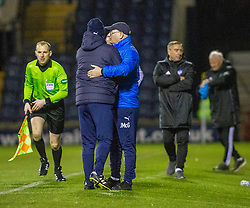 Raith Rovers manager John McGlynn at the end, with Peterhead manager Jim McInally in the background. Raith Rovers 2 v 1 Peterhead, Scottish Football League Division One played 4/1/2020 at Stark's Park, Kirkcaldy.