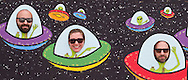 Pine Bush, New York - People poke their heads through a board painted with alien spaceships at the Pine Bush UFO Fair on  on April 26, 2014.