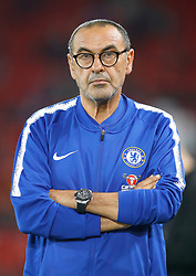 """Chelsea manager Maurizio Sarri ahead of the Carabao Cup, Third Round match at Anfield, Liverpool. PRESS ASSOCIATION Photo. Picture date: Wednesday September 26, 2018. See PA story SOCCER Liverpool. Photo credit should read: Martin Rickett/PA Wire. RESTRICTIONS: EDITORIAL USE ONLY No use with unauthorised audio, video, data, fixture lists, club/league logos or """"live"""" services. Online in-match use limited to 120 images, no video emulation. No use in betting, games or single club/league/player publications."""