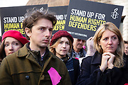 Outside Chelmsford crown court on the first day of the trial of the Stansted 15, on October 1st 2018 in Chelmsford, United Kingdom. The defendants and supporters gathered outside the court shortly before the trial starts. The initial trial in March 2018 was postponed. The 15 defendants are charged under terrorism legislation for stopping a deportation flight at Standsted airport in 2017. The flight was due to deport people back to Nigeria and Ghana with the action stoppiung the plane from taking off. Several of the deportees are still in the UK.