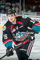 KELOWNA, CANADA - SEPTEMBER 28: Tomas Soustal #15 of Kelowna Rockets warms up with the puck against the Prince George Cougars on September 28, 2016 at Prospera Place in Kelowna, British Columbia, Canada.  (Photo by Marissa Baecker/Shoot the Breeze)  *** Local Caption *** Tomas Soustal;
