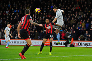 Andy Carroll (9) of West Ham United heads the ball across the goal mouth to set up Michail Antonio (30) of West Ham United who misses the target during the Premier League match between Bournemouth and West Ham United at the Vitality Stadium, Bournemouth, England on 19 January 2019.