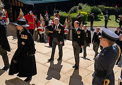 The Princess Royal, The Duke of York, The Earl of Wessex, The Duke of Cambridge and The Duke of Sussex walk up the West Steps outside St George's Chapel, Windsor Castle, Berkshire, ahead of the funeral of the Duke of Edinburgh. Picture date: Saturday April 17, 2021.