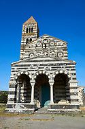 Picture and image of the exterior of the Tuscan Romanesque Pisan style basilica of Santissima Trinita di Saccargia, consecrated 1116, Codrongianos, Sardinia. .<br /> <br /> Visit our SARDINIA HISTORIC PLACXES PHOTO COLLECTIONS for more photos to download or buy as wall art prints https://funkystock.photoshelter.com/gallery-collection/Pictures-Images-of-Sardinia-Sardinia-Historical-Travel-Sites/C0000MEM.pIAwgvM <br /> .<br /> Visit our MEDIEVAL PHOTO COLLECTIONS for more   photos  to download or buy as prints https://funkystock.photoshelter.com/gallery-collection/Medieval-Middle-Ages-Historic-Places-Arcaeological-Sites-Pictures-Images-of/C0000B5ZA54_WD0s