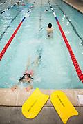 Karan Leong (9) take swim lessons at the Star Aquatic & Fitness center in Milpitas, Calif., on Sept. 20, 2012.  Photo by Stan Olszewski/SOSKIphoto.
