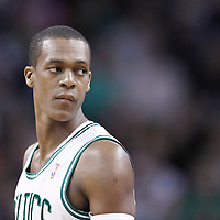 10 May 2012: Boston Celtics point guard Rajon Rondo (9) is seen during the Boston Celtics 83-80 victory over the Atlanta Hawks, in Game 6 of the Eastern Conference first-round playoff series, at the TD Banknorth Garden, Boston, Massachusetts, USA.