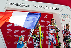 Second placed Philipp Schoerghofer (AUT), winner Alexis Pinturault (FRA) and third placed Marcel Hirscher (AUT) listening to the French National Anthem at trophy ceremony after the 9th Men's Giant Slalom race of FIS Alpine Ski World Cup 55th Vitranc Cup 2016, on March 4, 2016 in Kranjska Gora, Slovenia. Photo by Vid Ponikvar / Sportida