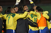 21/07/04 - LIMA - PERU - COPA AMERICA PERU 2004 - AMERICAN CUP - semifinal match.<br /> BRASIL - BRAZIL win by penalty over URUGUAY.<br />Brazilian team celebrating the victory. N*7 adriano.<br />© Gabriel Piko / Argenpress.com