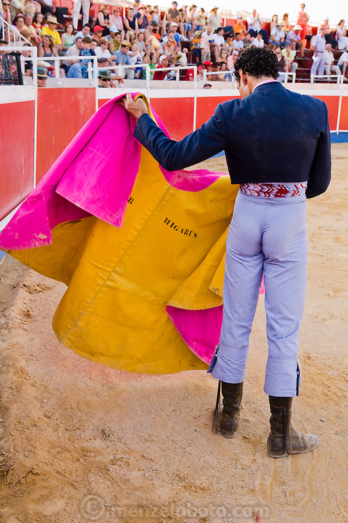 Professional bullfighter Oscar Higares at a bullfighting festival at Campos del Rio, near Murcia, Spain. (Oscar Higares is featured in the book What I Eat: Around the World in 80 Diets.) MODEL RELEASED.