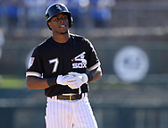 GLENDALE, ARIZONA - FEBRUARY 23:  Tim Anderson #7 of the Chicago White Sox looks on against the Los Angeles Dodgers on February 23, 2019 at Camelback Ranch in Glendale Arizona.  (Photo by Ron Vesely)  Subject:  Tim Anderson