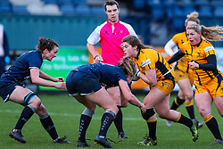 Maud Muir of Wasps Ladies is tackled by Molly Kelly of Sale Sharks Women  - Mandatory by-line: Nick Browning/JMP - 12/12/2020 - RUGBY - CorpAcq Stadium  - Sale, England - Sale Sharks Women v Wasps FC Ladies - Allianz Premier 15s