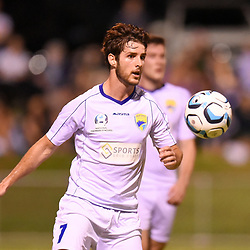 BRISBANE, AUSTRALIA - FEBRUARY 10: Acim Tomic of United in action during the NPL Queensland Senior Mens Round 2 match between Gold Coast United and Brisbane Roar Youth at Station Reserve on February 10, 2018 in Brisbane, Australia. (Photo by Football Click / Patrick Kearney)