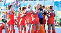 RIO DE JANEIRO  -  Vreugde bij Nederland na de shoot outs    na  de halve finale hockey dames  Nederland-Duitsland (1-1),   tijdens de Olympische Spelen. Nederland door naar de finale.   COPYRIGHT KOEN SUYK