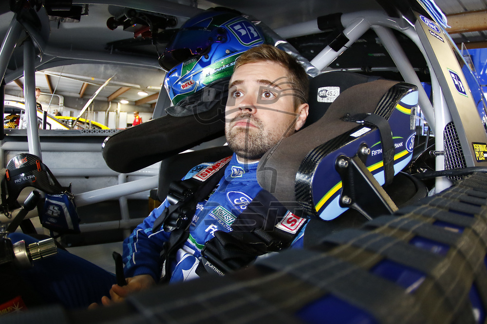 October 28, 2017 - Martinsville, Virginia, USA: Ricky Stenhouse Jr (17) straps into his car to practice for the First Data 500 at Martinsville Speedway in Martinsville, Virginia.