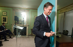 © Licensed to London News Pictures. 20/10/2014. Westminster, UK Deputy Prime Minister Nick Clegg holds his monthly press conference Monday 20th October at Dover House (Scotland Office), 66 Whitehall. Photo credit : Stephen Simpson/LNP