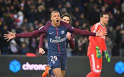 Paris Saint-Germain's Goal Kylian Mbappé during the French L1 football match between Paris Saint-Germain (PSG) and Marseille (OM) at the Parc des Princes in Paris on February 25, 2018. Photo by Christian Liewig/ABACAPRESS.COM