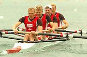 FISA World Cup Rowing Munich Germany..27/05/2004..Thursday morning opening heats...DEN LM4-.Stroke Eskild Ebbesen, Thor Kristensen, Thomas Ebert and Bo Helleberg. [Mandatory Credit: Peter Spurrier: Intersport Images].