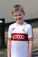 A young Bradford travelling fan during the EFL Sky Bet League 1 match between Rochdale and Bradford City at Spotland, Rochdale, England on 21 April 2018. Picture by Mark Pollitt.