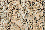 Bas-relief sculpture panel with scenes from the Bible by Maitani around 1310 on the14th century Tuscan Gothic style facade of the Cathedral of Orvieto, Umbria, Italy .<br /> <br /> Visit our ITALY HISTORIC PLACES PHOTO COLLECTION for more   photos of Italy to download or buy as prints https://funkystock.photoshelter.com/gallery-collection/2b-Pictures-Images-of-Italy-Photos-of-Italian-Historic-Landmark-Sites/C0000qxA2zGFjd_k<br /> .<br /> <br /> Visit our MEDIEVAL PHOTO COLLECTIONS for more   photos  to download or buy as prints https://funkystock.photoshelter.com/gallery-collection/Medieval-Middle-Ages-Historic-Places-Arcaeological-Sites-Pictures-Images-of/C0000B5ZA54_WD0s