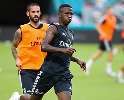 July 30, 2018 - Miami Gardens, Florida, USA - Real Madrid C.F. forward Vinicius Junior in action during an open training session for the International Champions Cup match between Real Madrid C.F. and Manchester United F.C. at the Hard Rock Stadium in Miami Gardens, Florida. (Credit Image: © Mario Houben via ZUMA Wire)