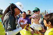 January 28 2016: San Diego Chargers corner Jason Merrett signs autographs after the Pro Bowl practice at Turtle Bay Resort on North Shore Oahu, HI. (Photo by Aric Becker/Icon Sportswire)