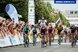Winner Simone Consonni of UAE celebrates during 1st Stage of 25th Tour de Slovenie 2018 cycling race between Lendava and Murska Sobota (159 km), on June 13, 2018 in  Slovenia. Photo by Vid Ponikvar / Sportida