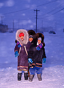 Cindy, Jenny and Estella Botfish, Inupiat Children in howling winter storm, village of Wainwright on the Arctic Ocean Coast west of Barrow, Alaska.<br /> Note:  Use of this image requires an extra licensing fee to be paid to the Botfish family.  Contact Fred Hirschmann for information.