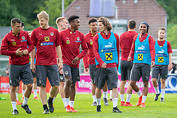 02.06.2018, Woerthersee Stadion, Klagenfurt, AUT, ÖFB Nationalteam, Training, im Bild Teamspieler beim Aufwärmen // Team during a Trainingssession of Austrian National Footballteam at the Woerthersee Stadion in Klagenfurt, Austria on 2018/06/02. EXPA Pictures © 2019, PhotoCredit: EXPA/ Johann Groder