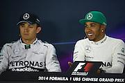 April 20, 2014 - Shanghai, China. UBS Chinese Formula One Grand Prix. Lewis Hamilton (GBR), Mercedes Petronas, Nico Rosberg  (GER), Mercedes Petronas