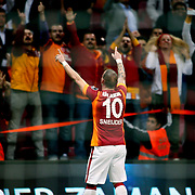 Galatasaray's Wesley Sneijder celebrate his goal during their Turkish superleague soccer derby match Galatasaray between Fenerbahce at the AliSamiYen spor kompleksi TT Arena in Istanbul Turkey on Saturday, 18 october 2014. Photo by Aykut AKICI/TURKPIX