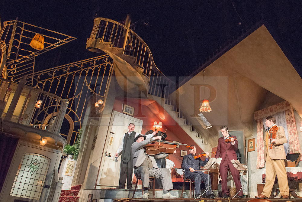 © Licensed to London News Pictures. 08/07/2013. The Ladykillers by Graham Linehan at The Vaudeville Theatre, London. Based on the Ealing Comedy screenplay, this stage production has been adapted by Graham Linehan. Picture shows: Gordon Sinclair (Prof Marcus), Chris McCalphy (One Round), Con O'Neill (Louis), Ralf Little (Harry), Simon Day (Major Courtney). Photo credit: Tony Nandi/LNP