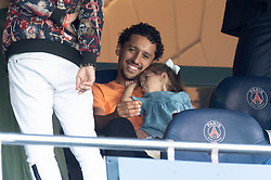 Marquinhos of PSG with his daughter Maria attend the Ligue 1 match between Paris Saint-Germain (PSG) and RC Strasbourg at Parc des Princes on September 14, 2019 in Paris, France.<br /> Photo by David Niviere/ABACAPRESS.COM