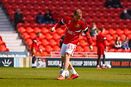 Herbie Kane of Doncaster Rovers (15) warming up during the EFL Sky Bet League 1 match between Doncaster Rovers and Plymouth Argyle at the Keepmoat Stadium, Doncaster, England on 13 April 2019.