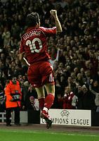 Photo: Paul Thomas.<br /> Liverpool v Bordeaux. UEFA Champions League, Group C. 31/10/2006.<br /> <br /> Liverpool's Luis Garcia celebrates his goal.