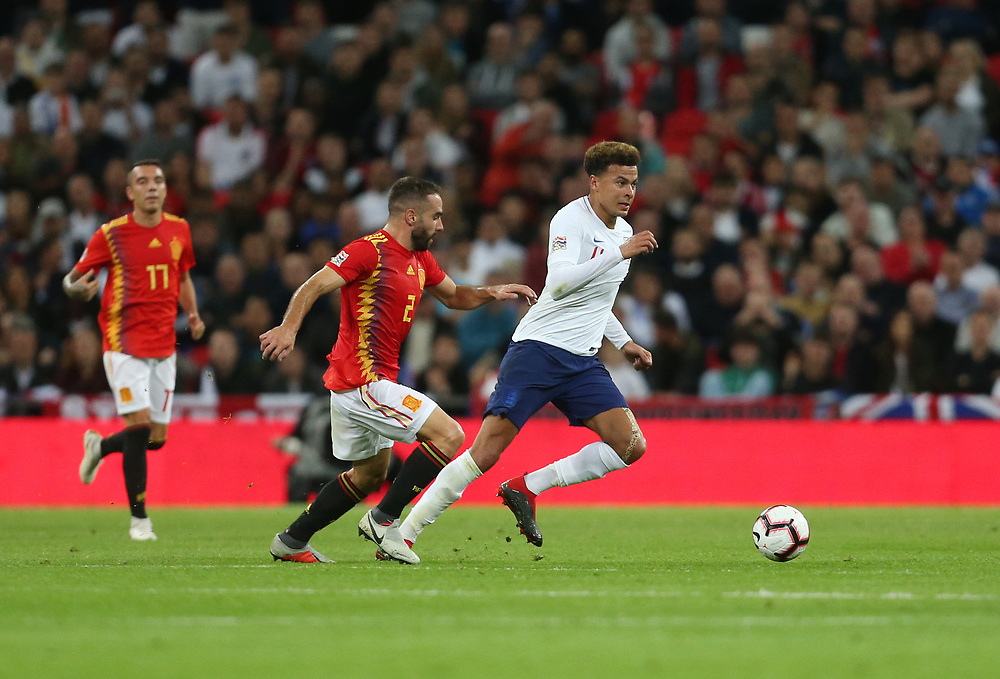 England's Dele Alli and Spain's Dani Carvajal<br /> <br /> Photographer Rob Newell/CameraSport<br /> <br /> UEFA Nations League - League A - Group 4 - England v Spain - Saturday September 8th 2018 - Wembley Stadium - London<br /> <br /> World Copyright © 2018 CameraSport. All rights reserved. 43 Linden Ave. Countesthorpe. Leicester. England. LE8 5PG - Tel: +44 (0) 116 277 4147 - admin@camerasport.com - www.camerasport.com