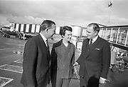 20th September 1967<br /> <br /> Mr Charles Haughey T.D., Minister for Finance, departs for the United States of America from Dublin Airport. Mr Haughey was to open New Ireland House in New York before traveling on to Rio de Janeiro, to attend the World Bank and International Monetary Fund meeting. Picture shows (l-r): Mr Charles Haughey TD; Mrs Maureen Haughey and Mr Donagh O'Malley, Minister for Education, who saw Mr Haughey off at the airport.