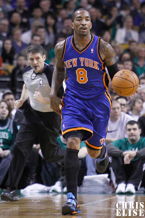 04 March 2012: New York Knicks shooting guard J.R. Smith (8) brings the ball up court during the Boston Celtics 115-111 (OT) victory over the New York Knicks at the TD Garden, Boston, Massachusetts, USA.