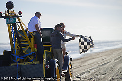 End of a long day of racing on Saturday at the starting line of the Race of Gentlemen. Wildwood, NJ, USA. October 10, 2015.  Photography ©2015 Michael Lichter.