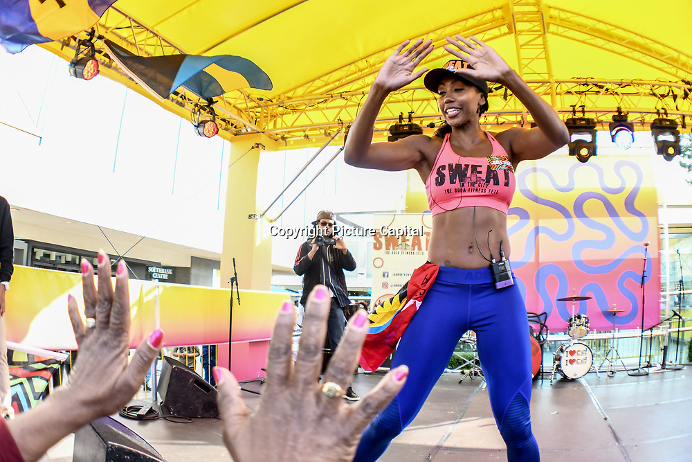 Sweat in the City by Soca Fitness Fete performs at Great Big Summer Weekend on 25 August 2018 at Royal Festival Hall, London, UK.