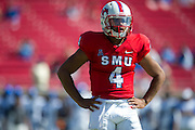 DALLAS, TX - OCTOBER 25:  Matt Davis #4 of the SMU Mustangs looks to the sidelines against the Memphis Tigers during the 4th quarter on October 25, 2014 at Gerald J. Ford Stadium in Dallas, Texas.  (Photo by Cooper Neill/Getty Images) *** Local Caption *** Matt Davis