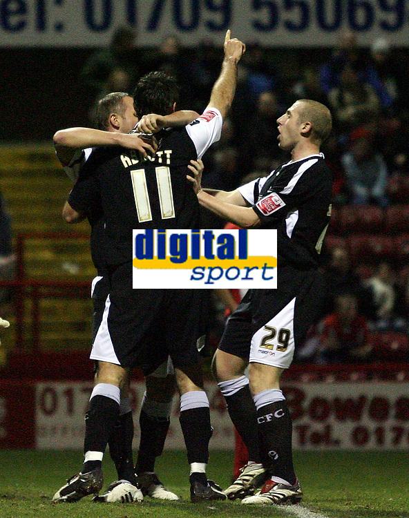 Photo: Paul Thomas.<br /> Rotherham United v Swansea City. Coca Cola League 2. 27/02/2007.<br /> <br /> Goal scorer Pawel Abbott (11) of Swansea celebrates with team-mates.