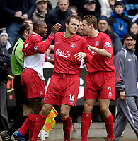 Photo: Jed Wee.<br /> Newcastle United v Liverpool. The Barclays Premiership. 19/03/2006.<br /> <br /> Liverpool celebrate with goalscorer Djibril Cisse (L).